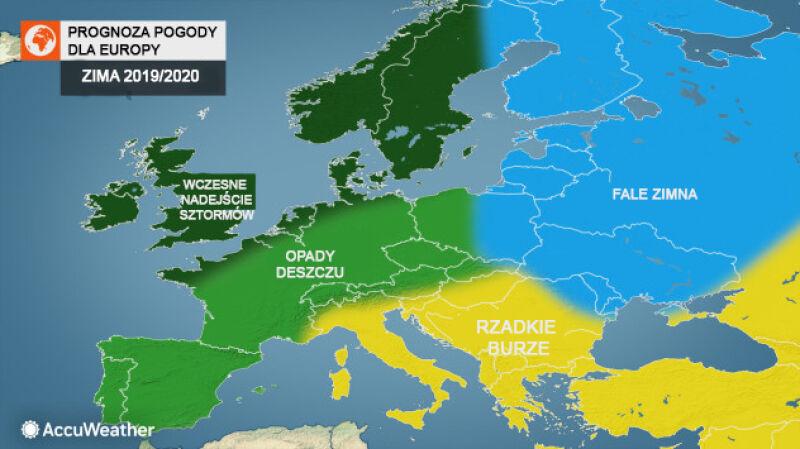 Prognoza pogody na zimę dla Europy (tvnmeteo.pl za AccuWeather)