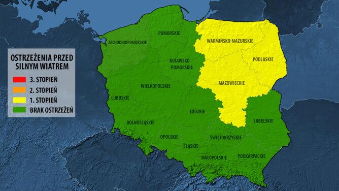 Już tylko trzy województwa zagrożone silnym wiatrem