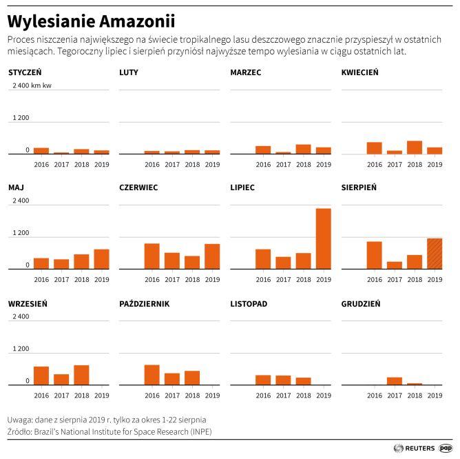 Wylesianie Amazonii (dane z sierpnia 2019) (Adam Ziemienowicz/PAP/Reuters)